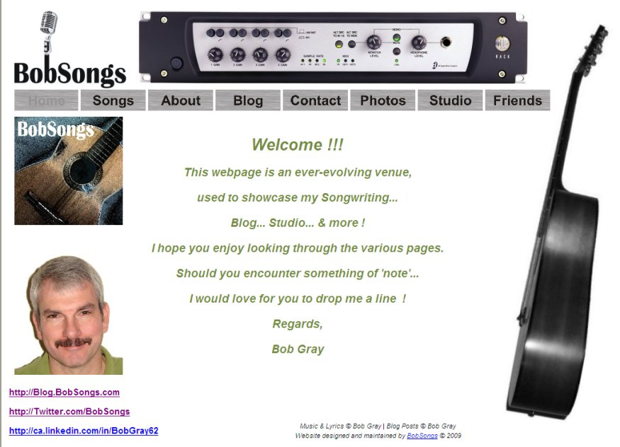 Screen Capture of the www.BobSongs.com homepage